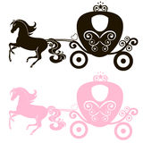 Fabulous Royal pink Princess carriage horse-drawn vector vintage girl stroller, logo, black and  the silhouette icon on Stock Image