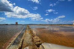 The fabulous salt pans of Trapan. Trapani, Italy, Sicily August 20 2015. The fabulous salt pans of Trapani, with its characteristic pink salt. Coloration due to stock photo
