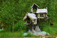 Fabulous sculpture of the three tree house. Sculpture of the three tree house Royalty Free Stock Photos