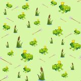 Fabulous seamless pattern with frog Princess. stock illustration