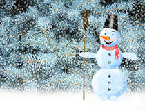 Fabulous snowman snow and New Year tree Stock Photography