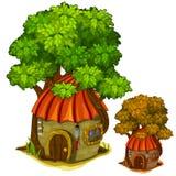 Fabulous stone house under big tree. Vector vector illustration