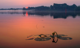 Fabulous sunrise on the river. Oder river, Poland,fabulous sunrise on the river Royalty Free Stock Image