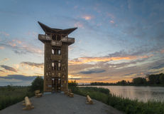 Fabulous sunrise on the river. Oder river, Poland,fabulous sunrise on the river Stock Images