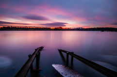 Fabulous sunrise on the river. Oder river, Poland,fabulous sunrise on the river Royalty Free Stock Photo