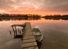 Fabulous sunrise on the river. Oder river, Poland,fabulous sunrise on the river Royalty Free Stock Images