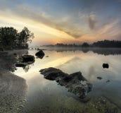 Fabulous sunrise on the river Royalty Free Stock Photos