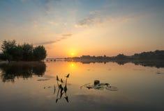 Fabulous sunrise on the river Stock Image