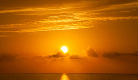Fabulous sunset on a background of sky and sea. Royalty Free Stock Images