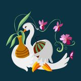Fabulous swan. Beautiful vector illustration for autumn theme. Fabulous swan with flowers and watermelon Stock Image
