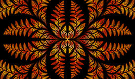 Fabulous symmetric pattern of the leaves in orange. Computer generated graphics Stock Photo