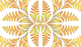 Fabulous symmetric pattern of the leaves in yellow. Computer gen Royalty Free Stock Image