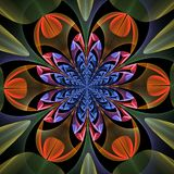 Fabulous symmetrical pattern of the leaves. Computer generated graphics royalty free illustration