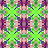 Fabulous symmetrical pattern of the petals. Green and purple pal Stock Photo