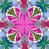 Fabulous symmetrical pattern of the petals. Pink, blue and green Royalty Free Stock Photos