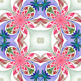 Fabulous symmetrical pattern of the petals. Pink, blue and green Stock Photo