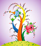 Fabulous tree. Fairy flowering tree with fancy flowers - vector illustration Royalty Free Stock Photos