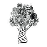 Fabulous Tree with Curls. Doodle Style. Vector Illustration. Stock Photography