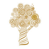 Fabulous Tree with Curls. Doodle Style. Vector Illustration. Royalty Free Stock Images