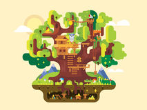 Fabulous tree house. Childhood building, nature home design, fantasy architecture, flat vector illustration vector illustration