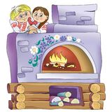 A fabulous village stove with children. A fabulous village oven with a boy and a girl Royalty Free Stock Images
