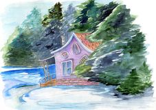 Fabulous watercolor hand drawn illustration with fairyhouse in winter forest. Mystery house surrounded by trees and water on the w stock illustration