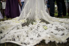 Fabulous wedding dress with petals on Royalty Free Stock Photography