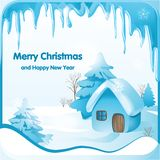 Fabulous winter landscape with a small house in a snowy forest royalty free illustration