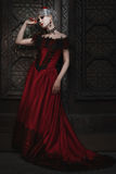 Fabulous woman in the red dress. royalty free stock images