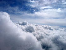 Fabulously beautiful clouds in the sky. View from the plane. Royalty Free Stock Photography