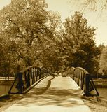 Fabyan Bridge. Small bridge than spans the fox river in Geneva, Illinois on the Fabyan Forest Preserve, bridge dates back to 1920's Stock Image