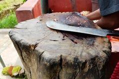 Faca de carniceiro curvada do interruptor inversor da carne em uma plataforma de madeira imagens de stock royalty free
