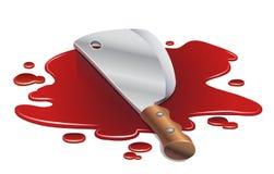 Faca de carniceiro em uma associação de sangue Fotos de Stock