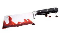 Faca de carniceiros sangrenta Fotografia de Stock