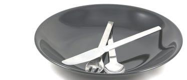 Faca e prato da forquilha da colher Fotografia de Stock
