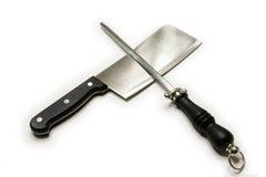 Faca e sharpener Fotografia de Stock