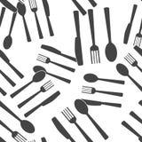 Faca, forquilha, colher cutlery Teste padr?o sem emenda do ajuste da tabela em um fundo branco ilustração do vetor
