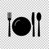 Faca, forquilha, colher e placa cutlery Tabele o ajuste Ico do vetor ilustração do vetor