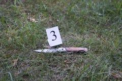 Faca na grama, investigação, assassinato imagem de stock
