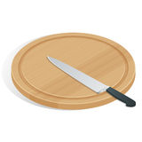 Faca na placa de corte no branco O ícone da placa e da faca de corte Cozinheiro chefe e restaurante, símbolo da cozinha Fotografia de Stock Royalty Free