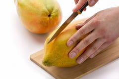 Faca posicionada para A cortado primeiramente completamente uma papaia Imagem de Stock Royalty Free
