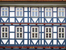 Facad半木料半灰泥的房子在Duderstadt,德国 免版税库存照片