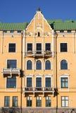 Facade. Yellow facade in Helsinki royalty free stock photography