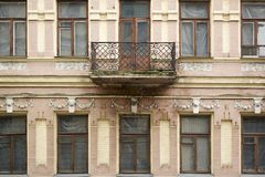 Facade of abandoned historic building architecture in Europe stock photo