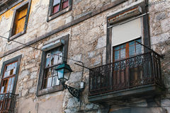 Facade of abandoned house buildings, Porto, Portugal. Stock Photography