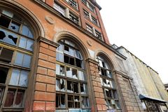 Facade of an abandoned industrial enterprise. royalty free stock photo