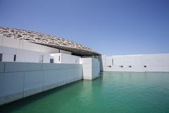 Facade of the Abu Dhabi Louvre in Abu Dhabi, United Arab Emirates. Middle East royalty free stock image