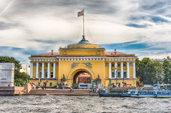 Facade of the Admiralty Building, St. Petersburg, Russia Stock Image