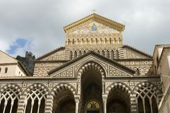 Facade of Amalfi cathedral. Facade of Saint Andrews cathedral or Cattedrale di S.Andrea in Amalfi covered with Byzantine mosaics, Amalfi, Sorrentine Peninsula of royalty free stock photography