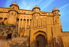 Facade of Amber fort, Jaipur, India. Ancient facade and gates of Amber fort, Jaipur, India Royalty Free Stock Photo